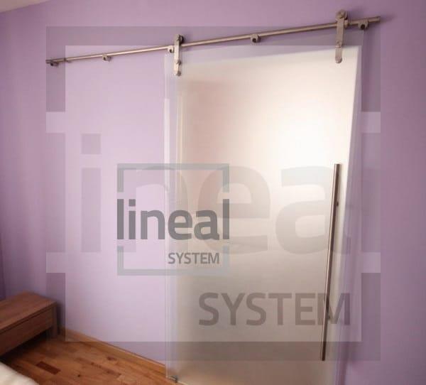 Góra Przesuwne drzwi szklane hartowane mocowane punktowo | LinealSYSTEM AS21